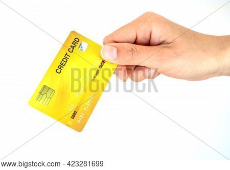 Someone Hand Holding Credit Card Isolated On White Background. Credit Card Lets Cardholders Borrow F