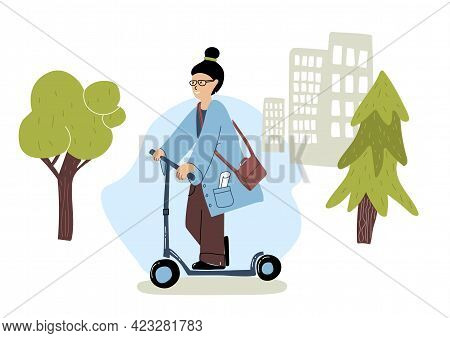 Woman Rides On E-scooter In The City. People Using Eco Transport. Flat Design. Vector Illustration