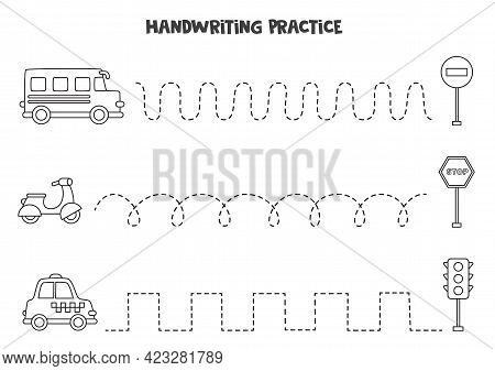 Tracing Lines For Kids With Cute Black And White Transportation Means. Handwriting Practice For Chil