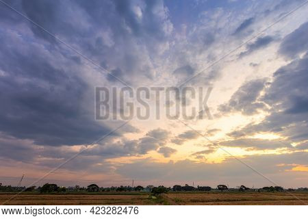 Blue Bright Dramatic Sunset Sky In Countryside Or Beach Colorful Cloudscape Texture Air Background.