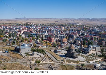 Panoramic View Onto Kars (turkey) From Kars Castle. Most Popular Tourist Attractions Are On Front (f