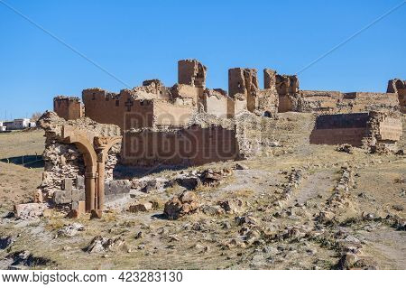 Panoramic View Onto Remains Of Medieval City Ani, Near Kars, Turkey. There Are Ruins Of Walls, Tower