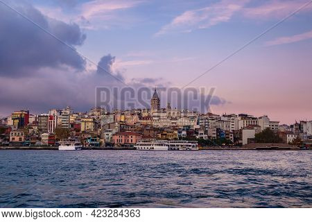 Panoramic View Onto Karaköy Quarter Of Istanbul, Turkey From Golden Horn. There Are Galata Tower, Mi