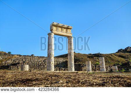 Colonnade In Antique City Panticapaeum, Kerch, Crimea. Main City Located Behind Pillars