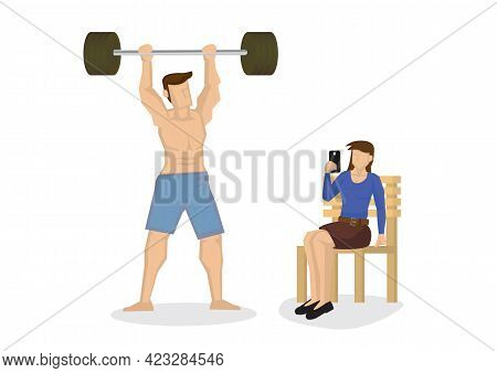 Handsome Man With Big Muscles, Posing For A Female With A Camera In The Gym. Vector Illustration.