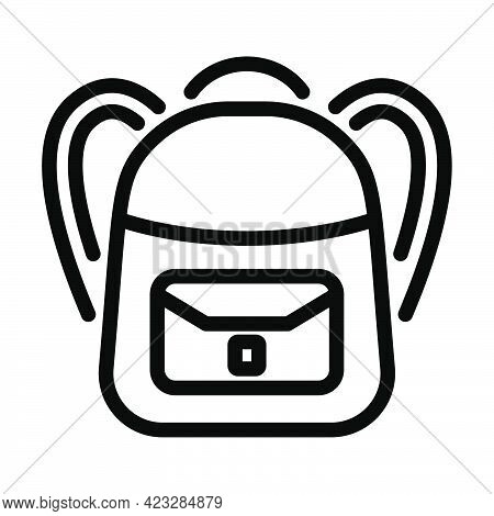 Icon Of School Rucksack. Bold Outline Design With Editable Stroke Width. Vector Illustration.