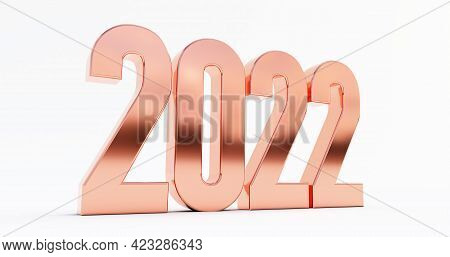 Happy New Year 2022. 3d Render Of Bronze 2022 Year Isolated On White Background