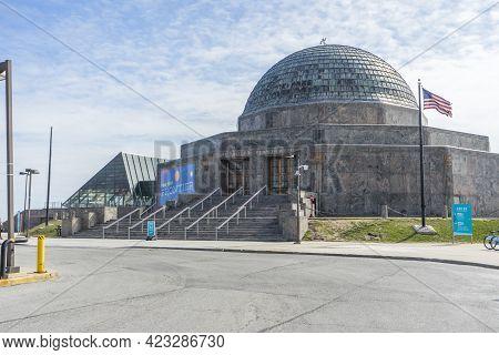 Chicago,illinois,usa - April 23,2018 : Chicago\'s Adler Planetarium & Astronomy Museum And Burnham H