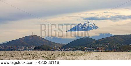 The Panoramic View Of The City Petropavlovsk-kamchatsky And Koryaksky Volcano