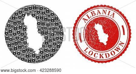 Vector Mosaic Albania Map Of Locks And Grunge Lockdown Stamp. Mosaic Geographic Albania Map Created