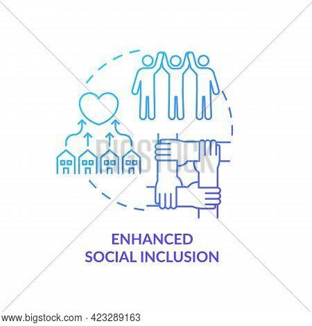 Enhanced Social Inclusion Concept Icon. Community Development Abstract Idea Thin Line Illustration.