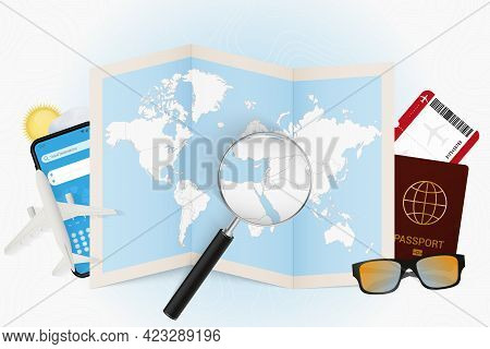 Travel Destination Israel, Tourism Mockup With Travel Equipment And World Map With Magnifying Glass