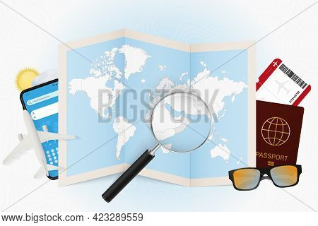 Travel Destination Oman, Tourism Mockup With Travel Equipment And World Map With Magnifying Glass On