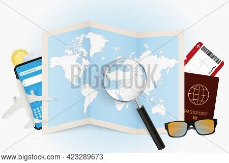 Travel Destination Syria, Tourism Mockup With Travel Equipment And World Map With Magnifying Glass O
