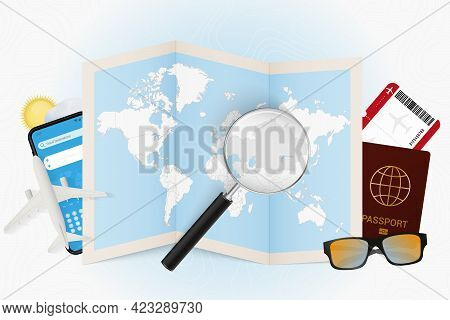 Travel Destination Kazakhstan, Tourism Mockup With Travel Equipment And World Map With Magnifying Gl