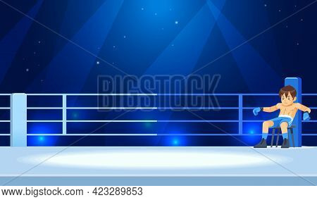 A Boy Champion Boxer Rests In A Break Corner Of The Ring, Between Rounds Of Fights. Professional Box