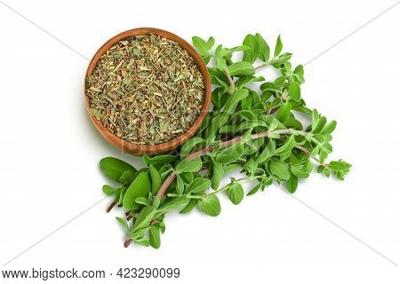 Oregano Or Marjoram Leaves Fresh And Dry In Wooden Bowl Isolated On White Background With Clipping P