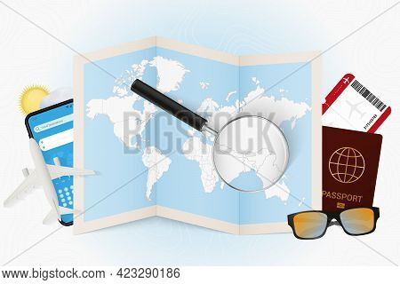 Travel Destination Bhutan, Tourism Mockup With Travel Equipment And World Map With Magnifying Glass