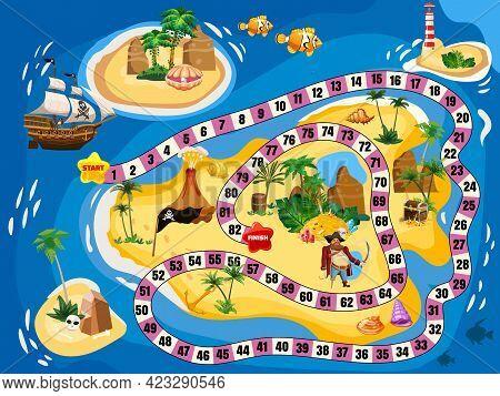 Treasure Island Pirate Board Game Map. Ocean Route Travel Adventure Pirate Naval Ship, Pile Gold Tre
