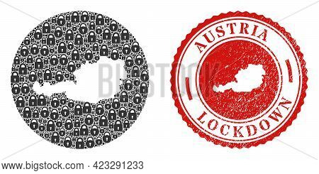 Vector Mosaic Austria Map Of Locks And Grunge Lockdown Stamp. Mosaic Geographic Austria Map Designed