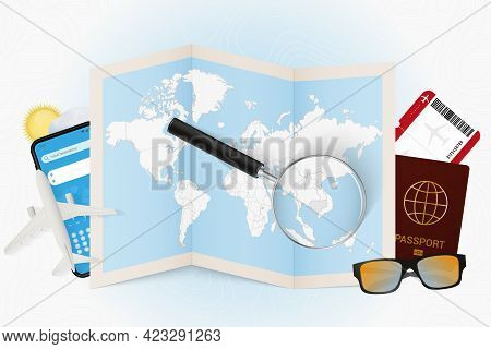 Travel Destination Cambodia, Tourism Mockup With Travel Equipment And World Map With Magnifying Glas