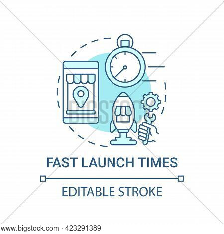 Fast Launch Times Concept Icon. Online Marketplace Benefit Abstract Idea Thin Line Illustration. Rea