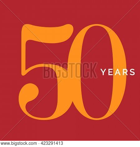 Fifty Years Symbol. Fiftieth Birthday Emblem. Anniversary Sign, Number 50 Logo Concept, Vintage Post