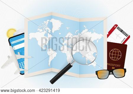 Travel Destination Myanmar, Tourism Mockup With Travel Equipment And World Map With Magnifying Glass