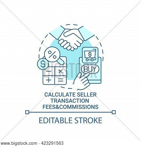Calculate Seller Transaction Fees And Commissions Concept Icon. Profits Calculation. Products Sale A