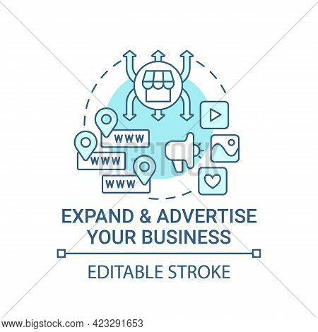 Expand And Advertise Business Concept Icon. Growing Ecommerce Store Abstract Idea Thin Line Illustra