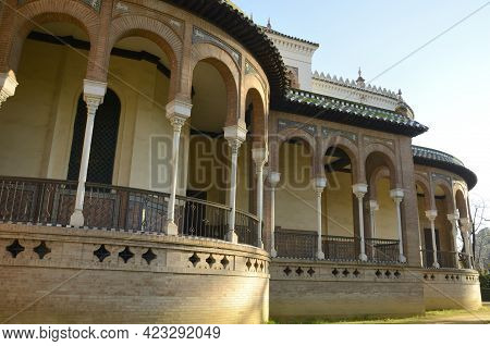 Arches In Balcony Of Mudejar Architecture Pavilion In Park Of Seville, Andalusia, Spain.