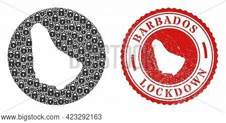 Vector Mosaic Barbados Map Of Locks And Grunge Lockdown Seal Stamp. Mosaic Geographic Barbados Map D