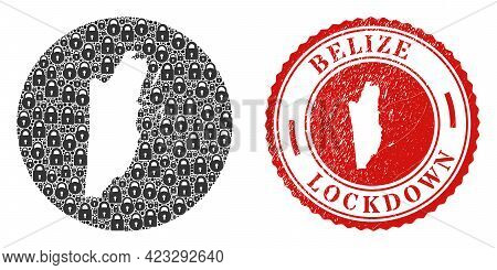 Vector Mosaic Belize Map Of Locks And Grunge Lockdown Seal. Mosaic Geographic Belize Map Created As