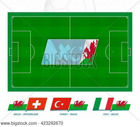 All Games Of The Wales Football Team In European Competition. Football Field And Games Icon. Vector