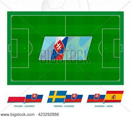 All Games Of The Slovakia Football Team In European Competition. Football Field And Games Icon. Vect