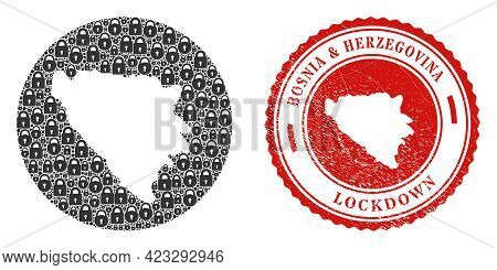 Vector Collage Bosnia And Herzegovina Map Of Locks And Grunge Lockdown Seal. Mosaic Geographic Bosni