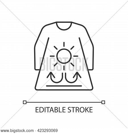 Long Sleeves And Loose Clothing Linear Icon. Female Outfit For Summer. Heatstroke Prevention. Thin L