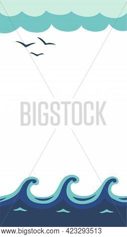 Vertical Vector Background With Three Waves, Blue Sky, Birds. Modern Mobile Wallpapers In Minimalist