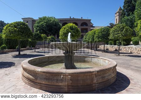 Totana, Murcia, Spain. Fountain In The Courtyard Of The Hermitage Of Santa Eulalia, Mudejar Style Th