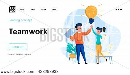 Teamwork Web Concept. Team Of Employees Working Together, Motivation, Good Communication At Office.