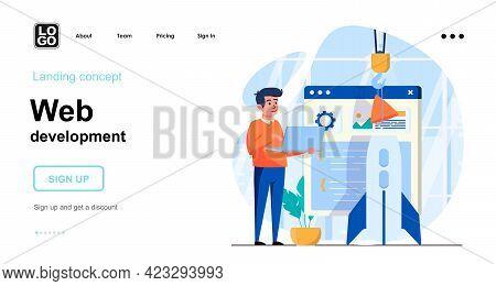 Web Development Web Concept. Developer Creates Page Layout, Building Site, Develop Startup Business.