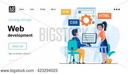 Web Development Web Concept. Programmers Coding Code, Creates Page Layout, Setting Up Search Engine.