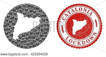 Vector Mosaic Catalonia Map Of Locks And Grunge Lockdown Seal Stamp. Mosaic Geographic Catalonia Map