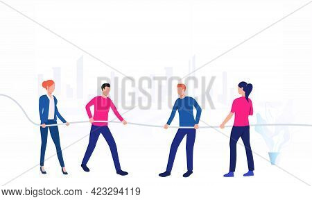 Business People Competing In Tug-of-war. Male And Female Cartoon Characters Pulling On Opposite Ends
