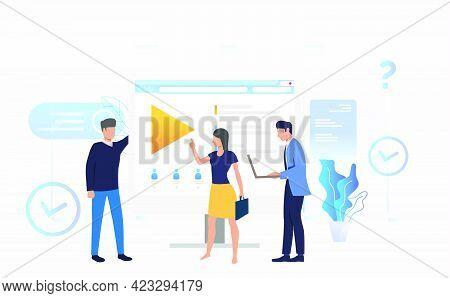 Businessmen And Businesswoman Talking At Desktop Vector Illustration. Online Training, Distance Lear