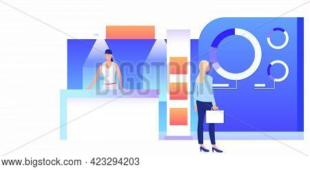 Businesswoman Studying Isometric Sale Stands. Expo Demonstration, Mall Marketing Event. Product Exhi