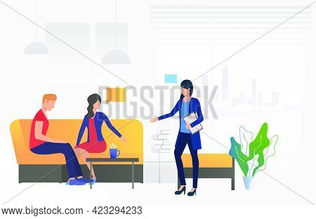 Couple Sitting In Family Psychologist Office Vector Illustration. Mental Therapy, Psychotherapist, C