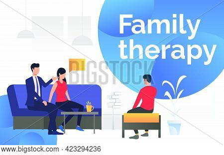 Couple Talking About Problems With Psychologist Vector Illustration. Counseling, Psychotherapy, Cons