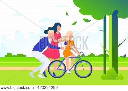 Family Spending Time Together Outdoors. Parents, Children, Nurturing. Family Concept. Vector Illustr
