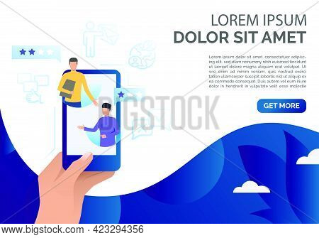 Hand Holding Smartphone With Client Comments Vector Illustration. Feedback Online, Client Review, So